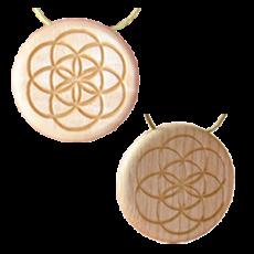 Amulett Holz Gold/Silber