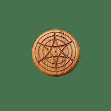 Vitalknopf Holz Quarz Kupferspiralen
